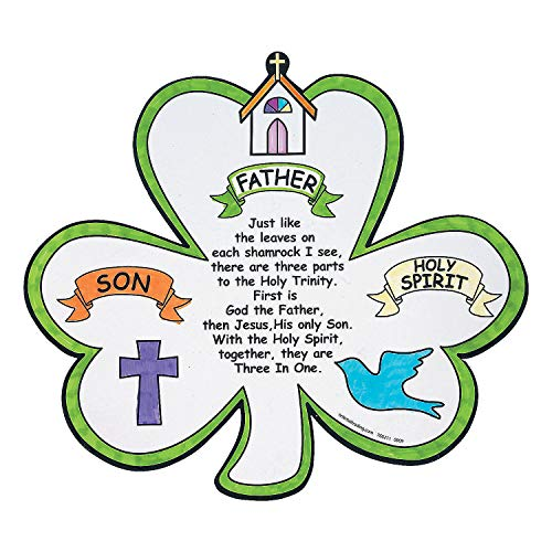 Fun Express - Cyo Shamrock Trinity Cut Out for St. Patrick's Day - Craft Kits - CYO - Paper - Misc CYO - Paper - St. Patrick's Day - 12 Pieces -