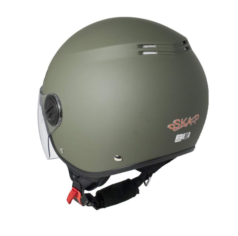 M Casco demi jet SKA-P 1LH METROPOLI Verde gommato
