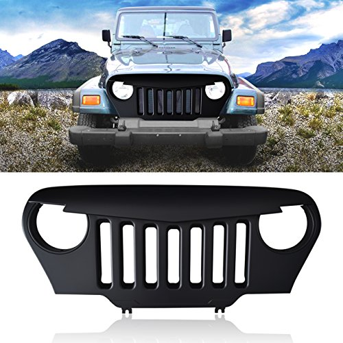 DIYTUNINGS Front Matte Black Angry Bird Grille Grill for 1997-2006 Jeep Wrangler TJ (Wrangler Jeep 2006 Grille)