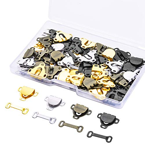 WXJ13 60 Pairs Skirt Hooks and Eyes Sewing Hook Eye Closures for Trousers, Skirt, Dress, Bra Sewing DIY Craft, 11# (1/2 Inch)