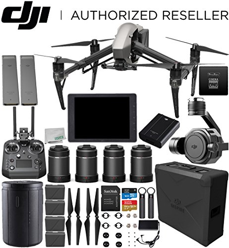 "DJI Inspire 2 Raw Drone with Zenmuse X7 + DJI CrystalSky 7.85"" High-Brightness Monitor + DL & DL-S Lens Set Bundle"