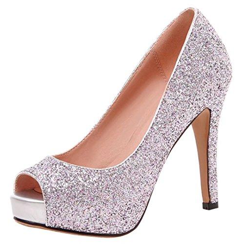 AIYOUMEI Damen Glitzer Peep Toe Pumps mit Plateau Stiletto High Heels Abend Schuhe Rosa