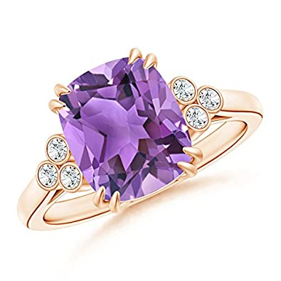 Angara Solitaire Double Claw Amethyst Trinity Ring with Diamond in Rose Gold 0croaC