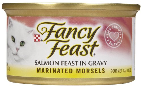 Fancy Feast Marinated Morsels Salmon Feast in Gravy, 3-oz, case of 12