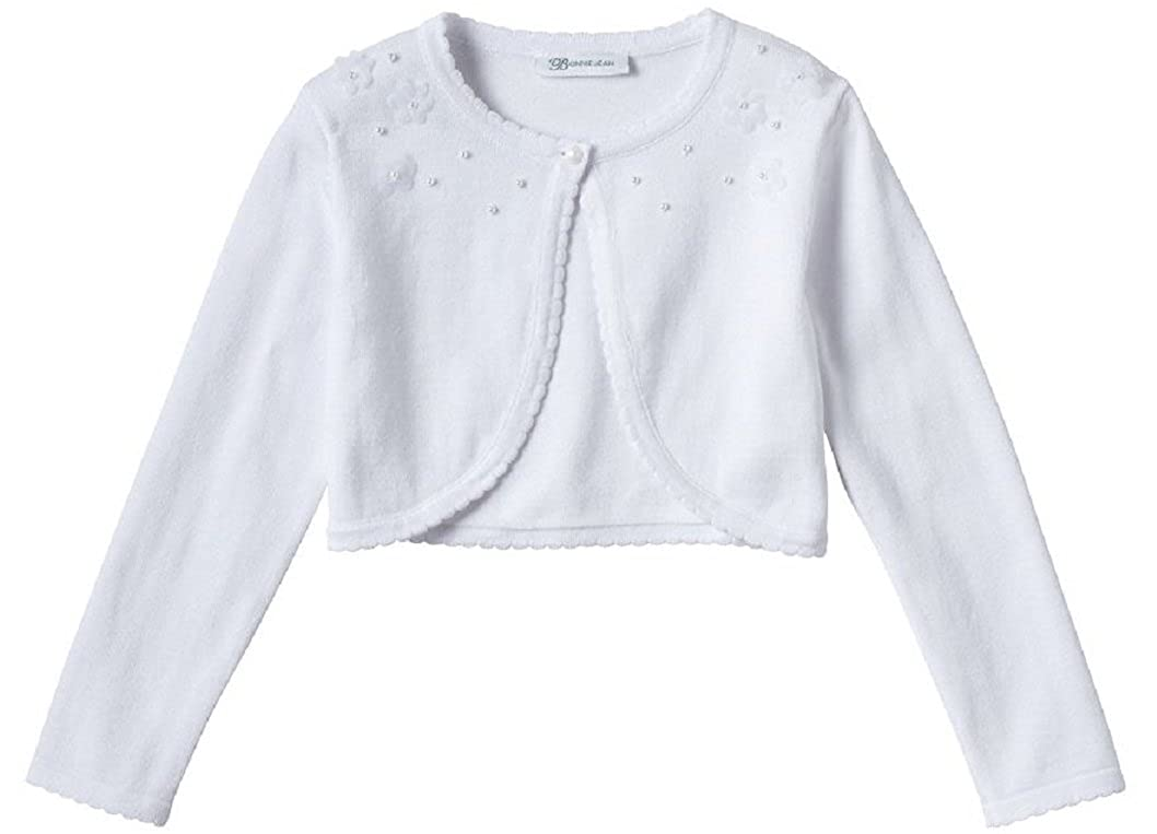 7c6aa870108b74 Amazon.com: Bonnie Jean Girls Pearl and Pompom Cotton White Communion Cardigan  Sweater, 5: Clothing