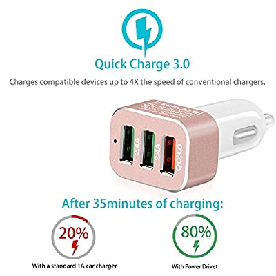 Car Charger with Quick Charge 3.0 Skyocean 42W 3-Ports Fast USB Charger Adapter for S7/S6/S6 Edge iPhone LG G5 Nexus 6P/5X HTC and More (Rose): Home Audio & Theater