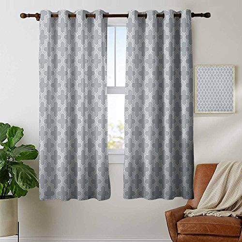 petpany Blackout Curtain Panels Window Draperies Quatrefoil,Oriental Lattice Pattern in Grey and White Colors with Triple Tangled Lines, Grey White,for Bedroom, Kitchen, Living Room 42