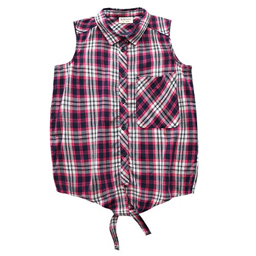 Big Girls Sleeveless Woven Plaid Button Down Shirts with Collar Red Black Navy Color (16 Years, Purple 7311) ()