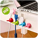 Botrong Headphone Headset Wire Wrap Cable Cord Winder Organizer Cable Collector Silica (Pack of 4, Random Color)