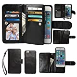 iPhone 5 5S Case, xhorizon ™ Premium Leather Folio Case [Wallet Function] [Magnetic Detachable] Fashion Wristlet Lanyard Hand Strap Purse Soft Flip Book Style Multiple Card Slots Cash Compartment Pocket with Magnetic Closure Case Cover Skin ZA5 for iPhone 5/5S - Black