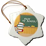 3dRose Kids Back To School - Snowflake Ornament, Porcelain, 3-inch (orn_60077_1)