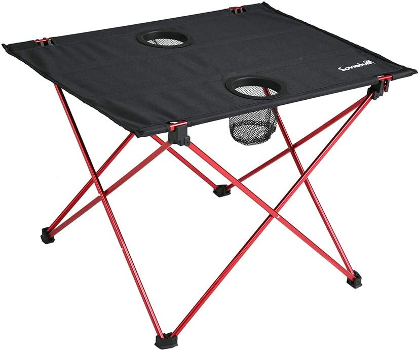 Lightweight Folding Camping Table, Portable Compact Roll Up Picnic Table with Cup Holders for Indoor Outdoor Hiking Picnic and Travel – S