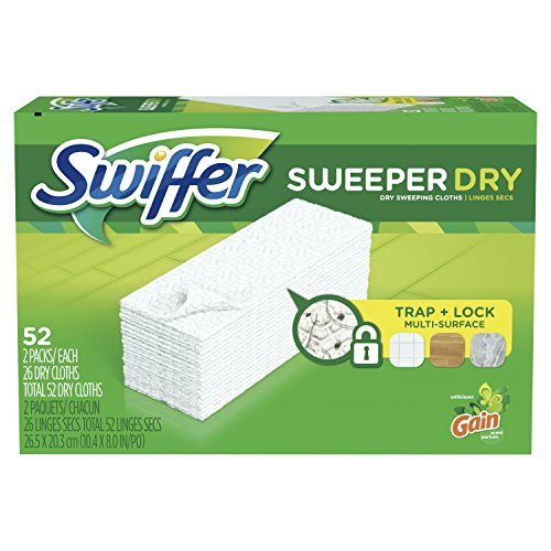 Swiffer Sweeper Dry Sweeping Pad Multi Surface Refills, for Dusters Floor mop, Gain Scent, 52 Count (Dry Pad)