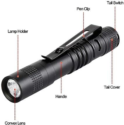 3500 Lumens  LED Flashlight Mini Torch Aluminum Pen Light With Clip Lamp TS
