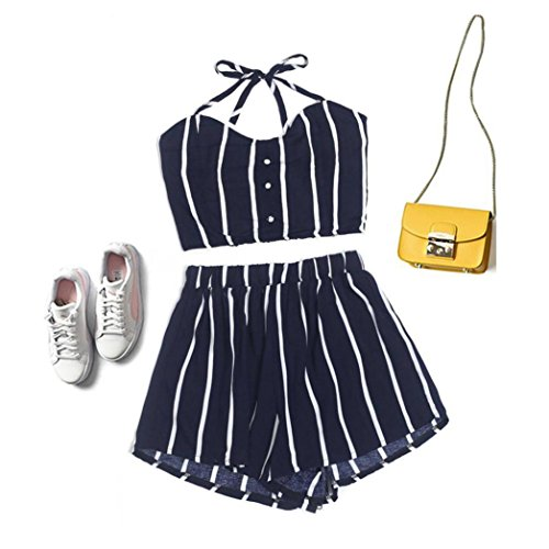 Pandaie Sexy Womens Striped Shirt Sleeveless Vest Blouse + Shorts Two-Piece Outfit for Women by Pandaie