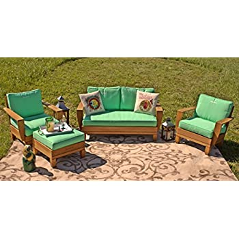 4pc Margaritaville Aruba Patio Furniture Conversation Set   Green And Palm  Tree Reverible Cushions