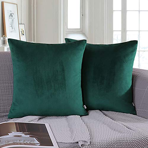 Pillow Throw Army - Ashler Pack of 2 Soft Velvet Decorative Throw Pillow Cushion Cover Sets Army Green 22 x 22 inch 55 X 55 cm
