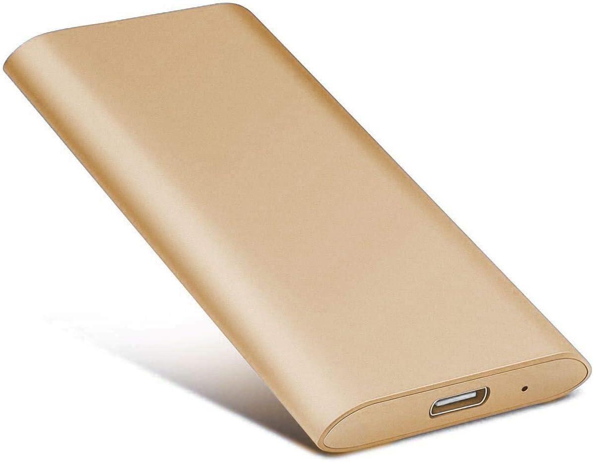 2TB External Hard Drive, Portable Hard Drive External Type-C/USB 2.0 HDD for Mac Laptop PC (2TB, Gold)