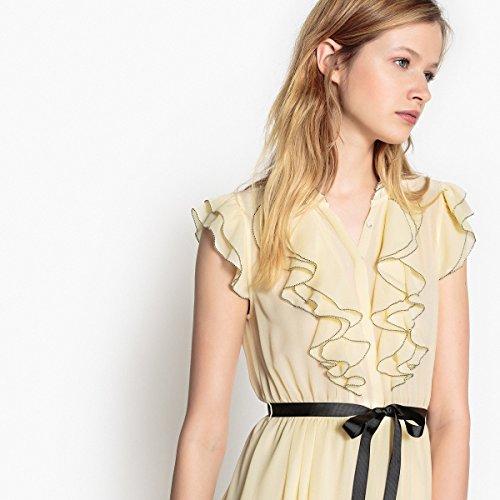 Volants Gelb Ausgestelltes R Frau Kleine Kleid Mademoiselle Vorne 1wBqn