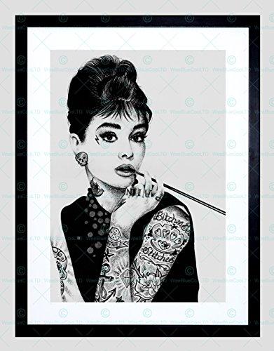 AUDREY HEPBURN TATTOO INKED IKONS FRAMED ART PRINT BY W.MAGUIRE F97X12440