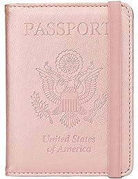 RFID Blocking Leather Passport Holder Cover Case Travel Wallet Elastic Strap