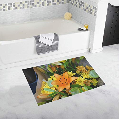 Asiatic Lily Floral Bouquet Blossom Flora Custom Non-Slip Bath Mat Rug Bath Doormat Floor Rug for Bathroom 20 X 32 Inch