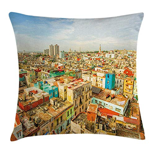 Travel Throw Pillow Cushion Cover, Panorama of Havana City Vedado District in Cuba Old Colorful Houses Historic Place, Decorative Square Accent Pillow Case,Multicolor 18x18inch