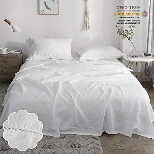 Linen French Design (Simple&Opulence 100% Stone Washed Linen 4pcs Hollowed-Out Design Solid Sheet Set (Full, White))