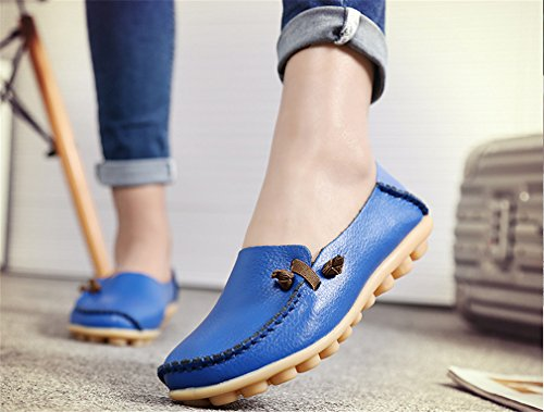 Donna Shoe Driving Casual Boat Blu Solid Madre pelle Flats Mocassini vera Donna donna In da Scarpe Footwear wP6XXY