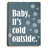 One Bella Casa 0004-4793-32 30 x 40 in. Baby Its Cold Outside Planked Wood Wall Decor by Cheryl Overton
