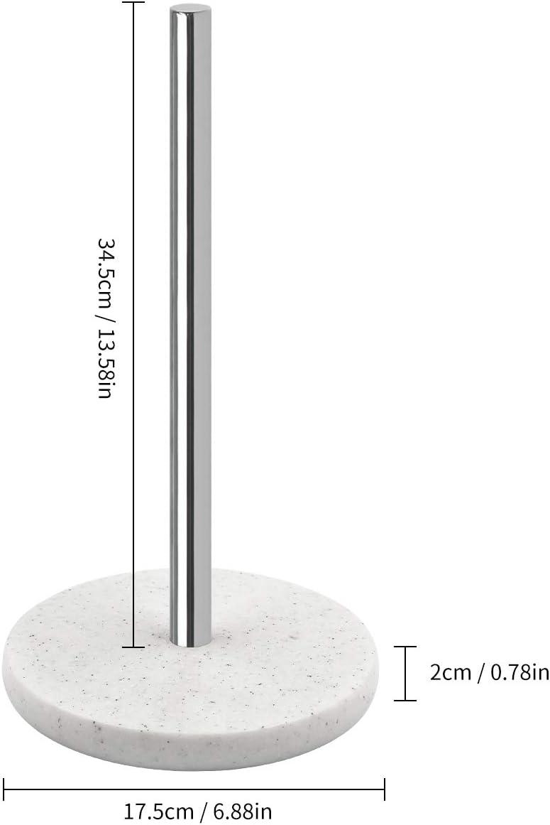 se ajusta a rollos de tama/ño est/ándar y jumbo Marble Dispensador de servilletas de papel de cocina ULABLE de pie con base de resina pesada de efecto m/ármol claro