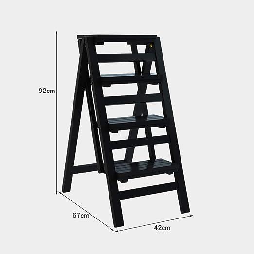 Estantes de pared MEIDUO Taburete de Escalera de 4 escalones Escalera de Escalada multifunción Escalera de Madera Taburete de Paso Plegable Espesar Instalación Gratuita Muy Durable (Color : Negro): Amazon.es: Hogar