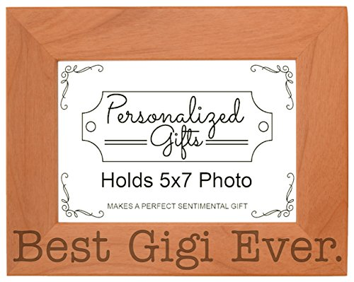 ThisWear Birthday Gift Grandma Best Gigi Ever Natural Wood Engraved 5x7 Landscape Picture Frame Wood