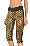 Pink Queen Women's Shine Fish Scale Capri Leggings Stretchy Tight Pants,pattern 3,Large