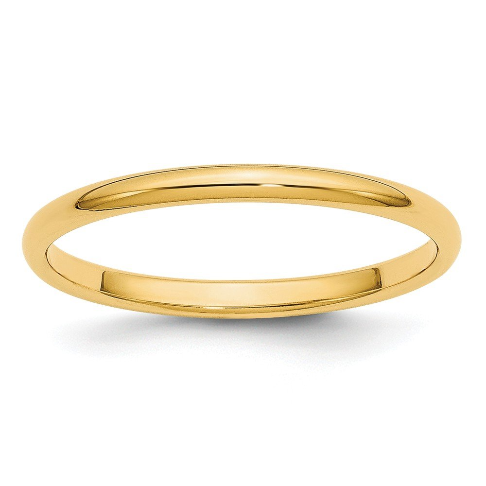 Best Birthday Gift 14k 2mm Half-Round Wedding Band