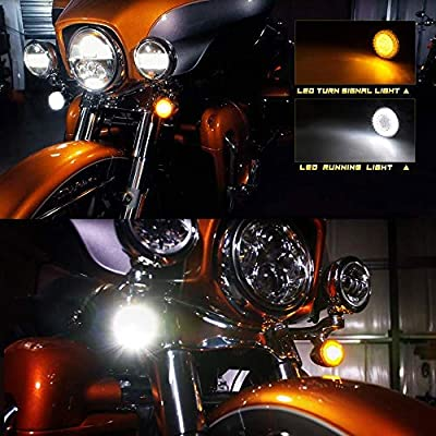 NTHREEAUTO Smoked Bullet Front Turn Signals LED Lights Panel Compatible with Harley Dyna Road Street Glide Road King Iron 883 Street Bob: Automotive