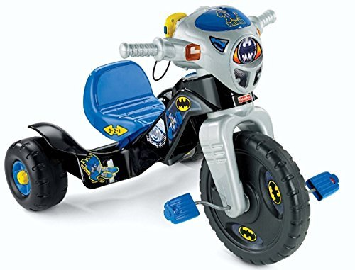 Fisher Price DC Super Friends Batman Lights And Sounds Trike Children's Tricycle Walkie Talkie Plays Back Recorded Messages 3 Position Adjustable Seat