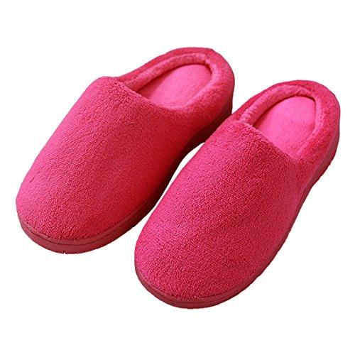 Cozy Slippers House Foam Warm Velvet Coral bestfur Memory Rose Women's 8x05ngqH