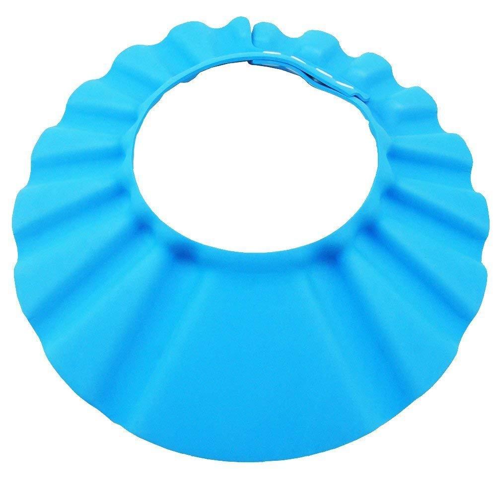 Blau Weiche Baby Dusch Badekappe Verstellbarer Kinder Baden Shampoo Kappe Haarewaschen Kopfschutz Bad Duschhaube Klettverschluss Bath Schutz Haarwaschhilfe /Älteren Menschen Duschhut