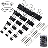 JPSOR Binder Clips - 140 Black Paper Clamp Clips with 50 Silver Paperclips, 6 Sizes (Black)