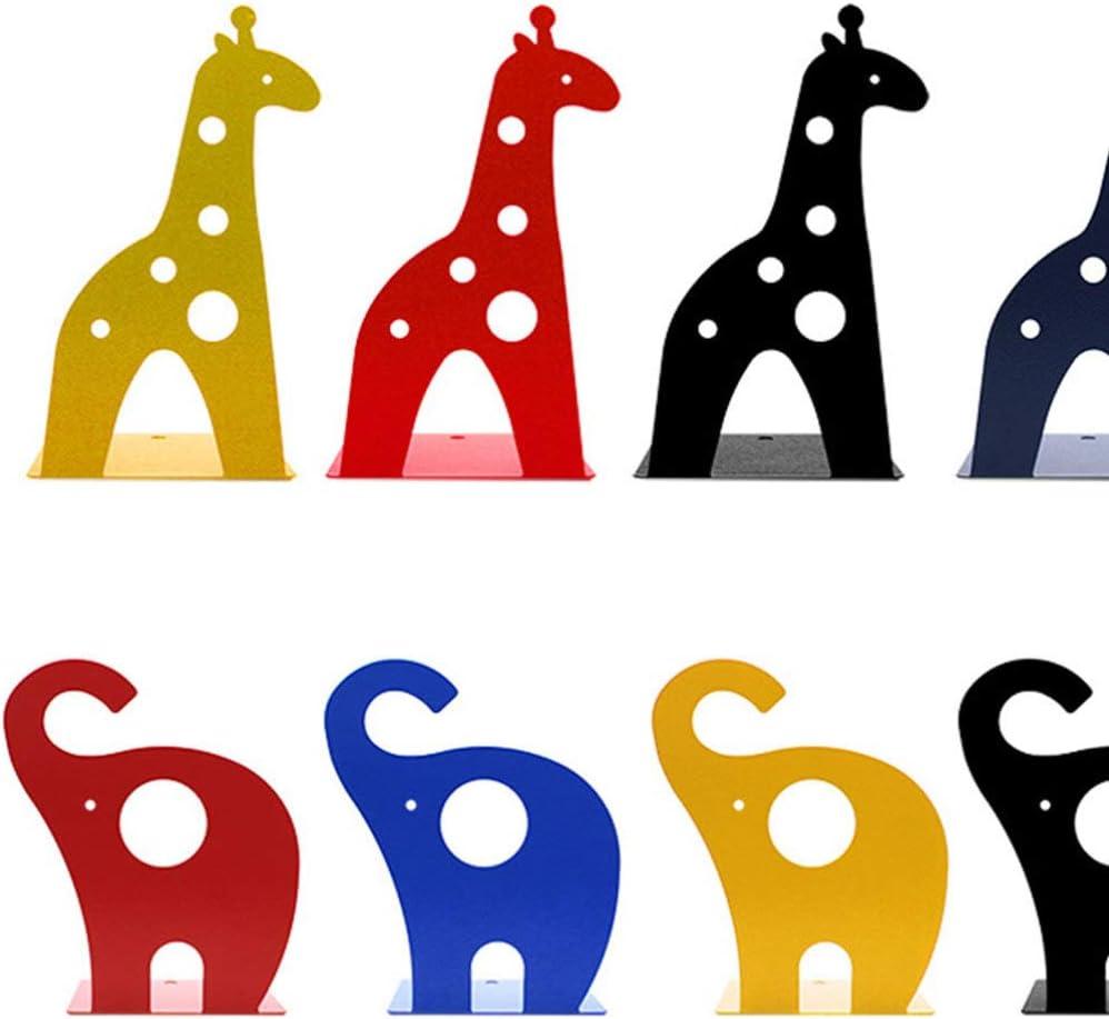 rosso IMIKEYA Fermalibri giraffa 2 pezzi supporti per libri di cartone animato supporti per libri di animali organizzatori di libri antiscivolo estremit/à di libri per scaffali di libri in metallo