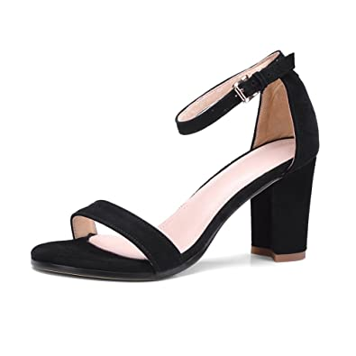 f57d18fb691 MINIVOG Women Open Toe Thick High Heel Ankle Strap Suede Black Gladiator  Leather Sandal Shoes 4.5