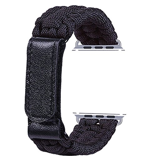 a26730725a5 Topshion Nylon Braided Watch Strap Braided with Leather Adjustable Clasp  Woven Watch Band for iWatch 38mm