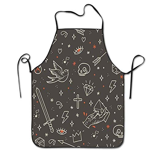 Smbada Cute Apron for Women Men Adults Chefs BBQ Kitchen Cooking Craft Baking Best Gift – Home Made Tattoos Rule