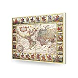 """DecorArts - 1652 world map by Claes Janszoon Visscher. Ancient Map Reproduction. Canvas art wall decor. Giclee Print. Antique maps. Vintage old style Decoration. High quality canvas art print. Stretched canvas Museum Wrapped. 30x24"""""""