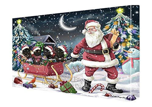Santa Sled Dogs Christmas Happy Holidays Black Cats Canvas Print Wall Art Décor CVS82700 (11x14)