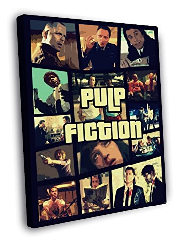 Pulp Fiction Movie Awesome Collage Characters Pop Art Painting 30x20 Framed Canvas Print
