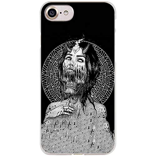 MISC Black White Demon iPhone 6 Case Grey Satanic 6S Cover Gray Demoic Warrior Spooky Scary Dark Cool Skull Bones Cross Satan Devil Horns Grim Reaper Ghoul, Plastic