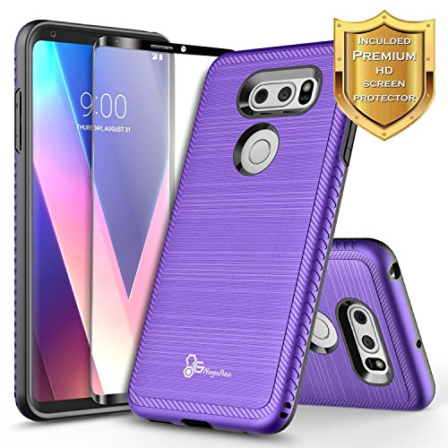LG V30 Case, LG V30 Plus/LG V30S ThinQ/LG V35 / LG V35 ThinQ w/[Full Cover Screen Protector Clear HD], NageBee [Carbon Fiber] Brushed [Heavy Duty] Shock Proof Dual Layer Hybrid Case (Purple)