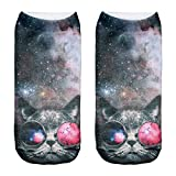 Women's Men's Girls Boys Socks Full Print Low Ankle Pug Dog Jogging Running Fitness Gym Sport Yoga Summer Funky Animal 3D Fashion Socks (UK 3-6, SUNGLASSES CAT)